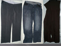 Bundle of 3 maternity trousers under bump & track suit bottom, size 16M. 2x Next (used) & M2B (new)