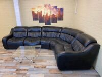 Supreme Black Leather Corner Sofa