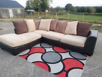 Large brown-cream Corner sofa