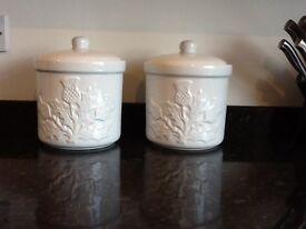 2 White Airtight Storage Jars