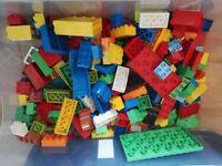 Box of original Lego Duplo, just over 250 pieces