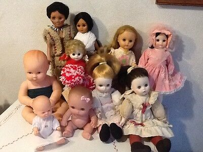 Lot Of 10 Vinyl And Plastic Dolls