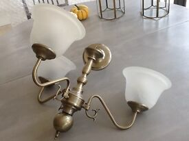 Antique style brass effect light 3 Arms opaque white glass shades fits eco bulb nearly new condition