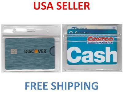 2 ID Horizontal Badge Tag Plastic Holder Zip Lock ID Card School Disney Cruise