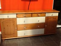 Sideboard pine and painted mix with crystal style knobs