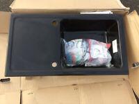 Gloss Black 1 Bowl Ceramic Sink Brand New Boxed Pop Up Waste Kit Inc