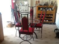 FOR SALE GLASS OBLONG DINING TABLE, 4 CHAIRS AND 2 CARVERS