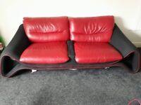 Three piece suite. Half leather , very good condition