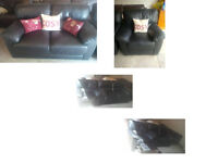 BLACK LEATHER 2 SEATER SOFA AND MATCHING BLACK RECLINING CHAIR VERY COMFY VIEWING WELCOME