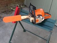 Stihl MS 250 Chain Saw and Log Saw Horse