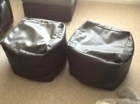 Pair of Black Faux Leather Pouffes 20ins x 20ins x 14ins high