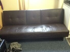 Sofa/bed brown with cup Holders