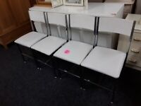 4 white / chrome dining chairs Copley Mill Low Cost Moves 2nd Hand Furniture STALYBRIDGE SK15 3DN