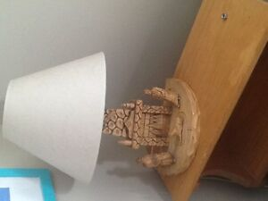 Adorable wood carved table lamp, perfect for cabin or cottage