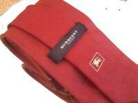 Genuine Burberry burgundy silk tie