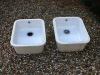 2 Enamel kitchen Sinks and Tap