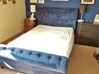 Blue Velvet Sleigh Double Bed Frame