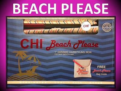 "NEW!!! CHI BEACH PLEASE 1"" CERAMIC HAIR STYLING FLAT IRON STRAIGHTENER + BAG SET"