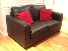 Dark brown leather 3+2 seater and chair