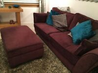 3 seater sofa with the futon and cushions. Dark/ deep purple, in good condition, very comfortable.