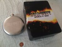 CALL of DUTY world at war tin and hip flask,like new.