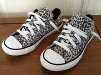 Converse All Star UK Size 1 Leopard Print Trainers
