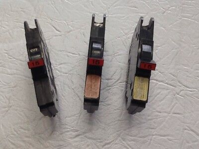 3federal Pacific 15 Amp 1 Pole Ncthin 12 Stab-lok Breakers.used Tested