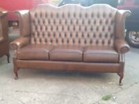 LEATHER CHESTERFIELD QUEEN ANNE HIGH BACK WING BACK 3 SEATER SOFA ANTIQUE TAN / BROWN CAN DELIVER