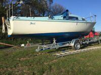 Lifting Keel Boat - Seal 22 Yacht + Trailer + 6HP Honda Engine + Many Extras for sale  Callington, Cornwall