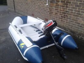 zodiac cadet 260 dinghy with mariner engine 2.5hp, bag, paddles and anchor
