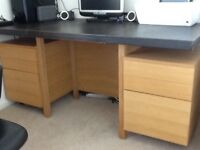 Habitat solid oak and leather desk