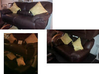 BEAUTIFUL DFS 3 SEATER AND 2 SEATER BROWN LEATHER MATCHING SOFAS REALLY COMFY SEE DETAILS BELOW