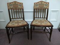 Pair of Antique Little Chairs with decorative Back and Seats.