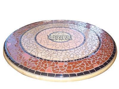"""55"""" Mármol Redondo Comedor de Mesa Mosaico Artesanía Incrustación Arte Boda Deco"""