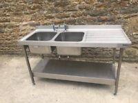 double commercial sink unit