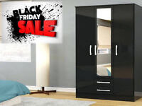 BLACK FRIDAY SALE STARTED WARDROBES FAST DELIVERY BRAND NEW 3 DOOR 2 DRAW 796EC
