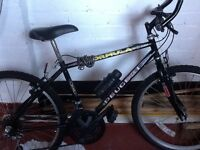 Black Peugeot bicycle 22inch wheel . Height to handles 35 inch lowest. Good condition.