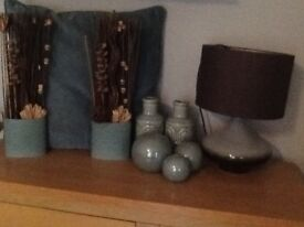 Next Teal Accessorie bundle, 3 50x50cm large cushions 1 still in pack, lamp, 3x balls see pics