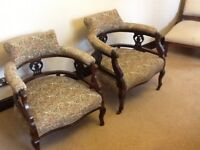 Pair Attractive Vintage Tub Chairs