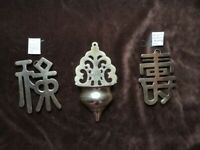 3 x Vtg Brass Wall Hangings 2 Chinese Characters Longevity & Prosperity & Small Plant Holder(70s)