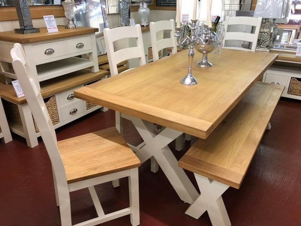Incredible Painted Oak Dining Table 6 Chairs Bench In Newry County Down Gumtree Gmtry Best Dining Table And Chair Ideas Images Gmtryco