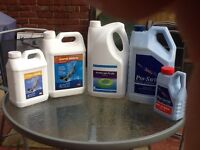 Assorted chemicals for swimming pool mantenance