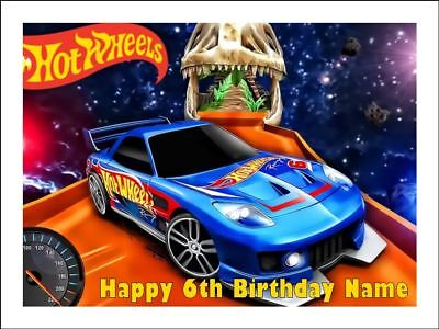 HOT WHEELS A4 Edible Icing Birthday Cake Party Decoration Topper #2](Hot Wheels Birthday Cake)