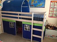 Kids mid-sleeper bed with tent CONDITION LIKE NEW/FREE DELIVERY