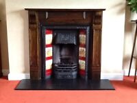 Original cast iron fire place, tile inserts and living flame gas fire
