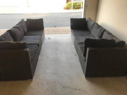 2 X Outdoor Grey Lounge Sofa Couch