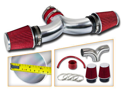 BCP RED 04-07 JEEP Liberty 3.7L V6 Dual Twin Air Intake System + -