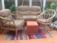 Cane conservatory furniture 3 piece suite.