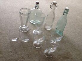 3 tip top water bottles for fridge,2 tutti fruiti long cups,3 fruit salad cups, 2 bowl glasses.