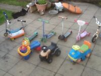 Toddlers scooters and cars for upto 3.5yrs-any item is £5 each-all used in full working order